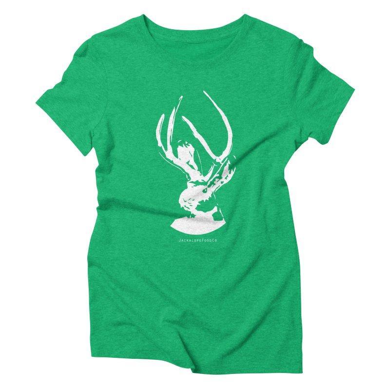 Jackalope Logo White Women's Triblend T-Shirt by merchhawker's Artist Shop