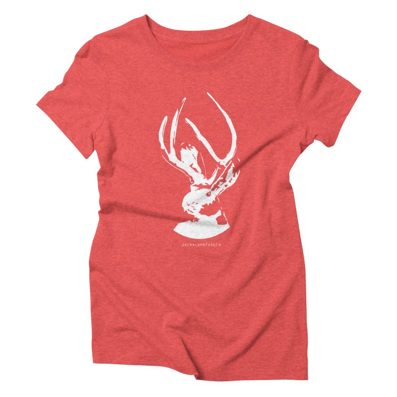 Jackalope Logo White in Women's Triblend T-Shirt Chili Red by merchhawker's Artist Shop