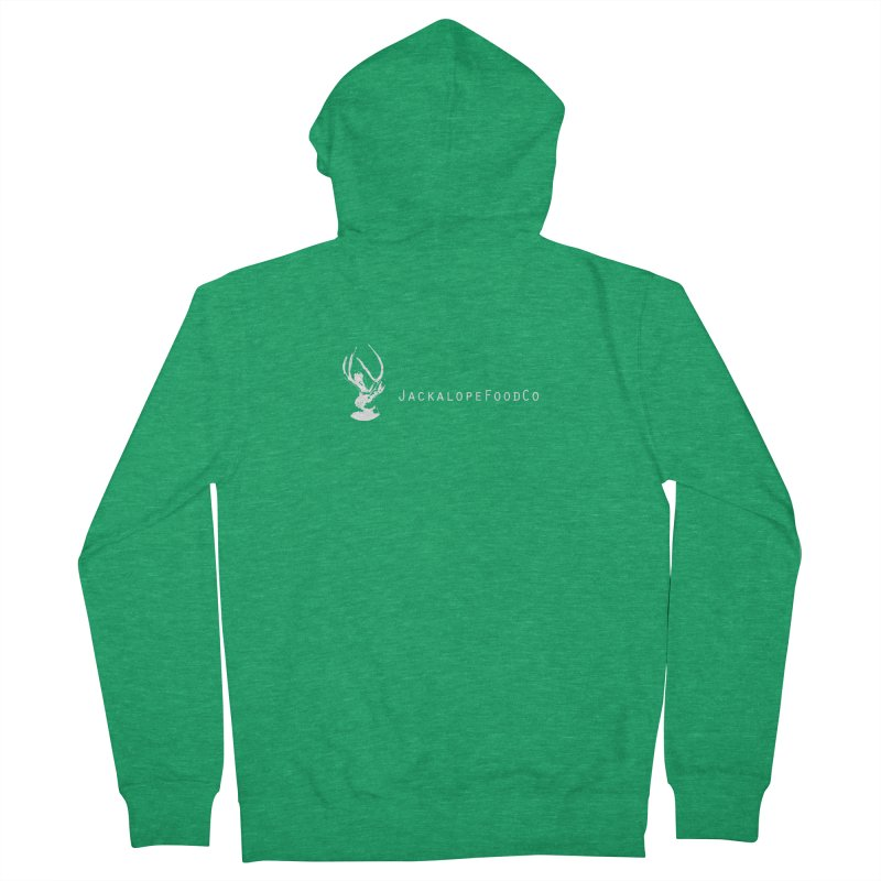 Jackalope Food Co Small Logo White Women's Zip-Up Hoody by merchhawker's Artist Shop