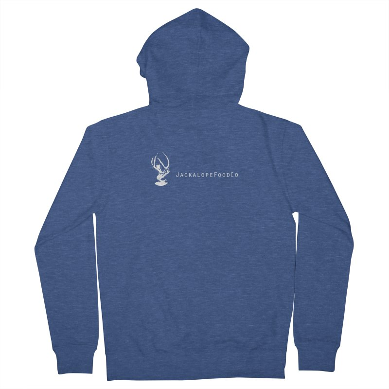 Jackalope Food Co Small Logo White Women's French Terry Zip-Up Hoody by merchhawker's Artist Shop