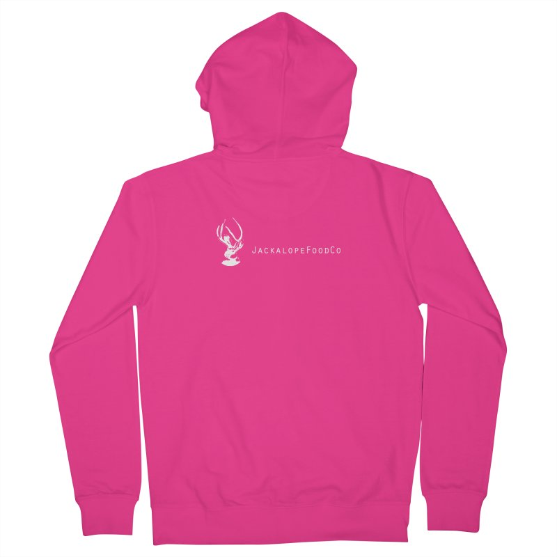 Jackalope Food Co Small Logo White Men's French Terry Zip-Up Hoody by merchhawker's Artist Shop