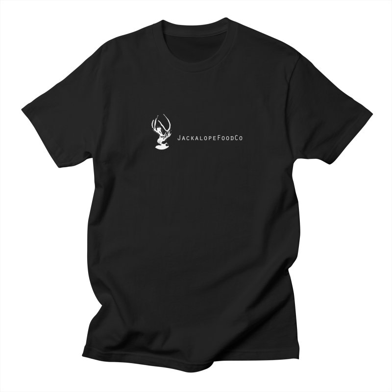 Jackalope Food Co Small Logo White in Men's Regular T-Shirt Black by merchhawker's Artist Shop