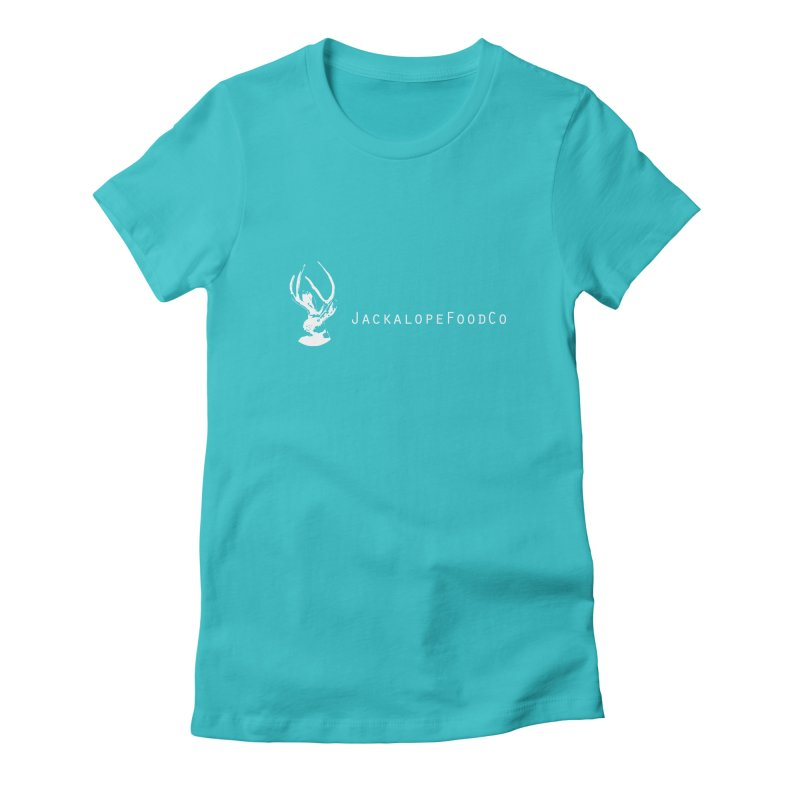 Jackalope Food Co Small Logo White in Women's Fitted T-Shirt Pacific Blue by merchhawker's Artist Shop