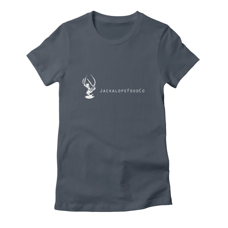 Jackalope Food Co Small Logo White Women's Fitted T-Shirt by merchhawker's Artist Shop