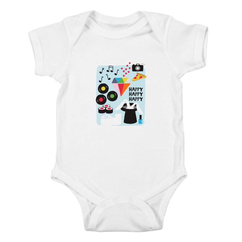 Happy Thoughts Kids Baby Bodysuit by meredith's Artist Shop