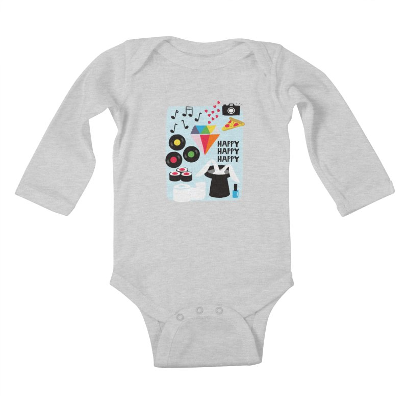 Happy Thoughts Kids Baby Longsleeve Bodysuit by meredith's Artist Shop