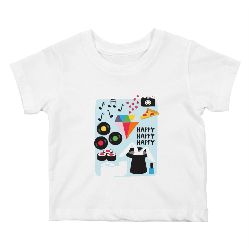 Happy Thoughts Kids Baby T-Shirt by meredith's Artist Shop