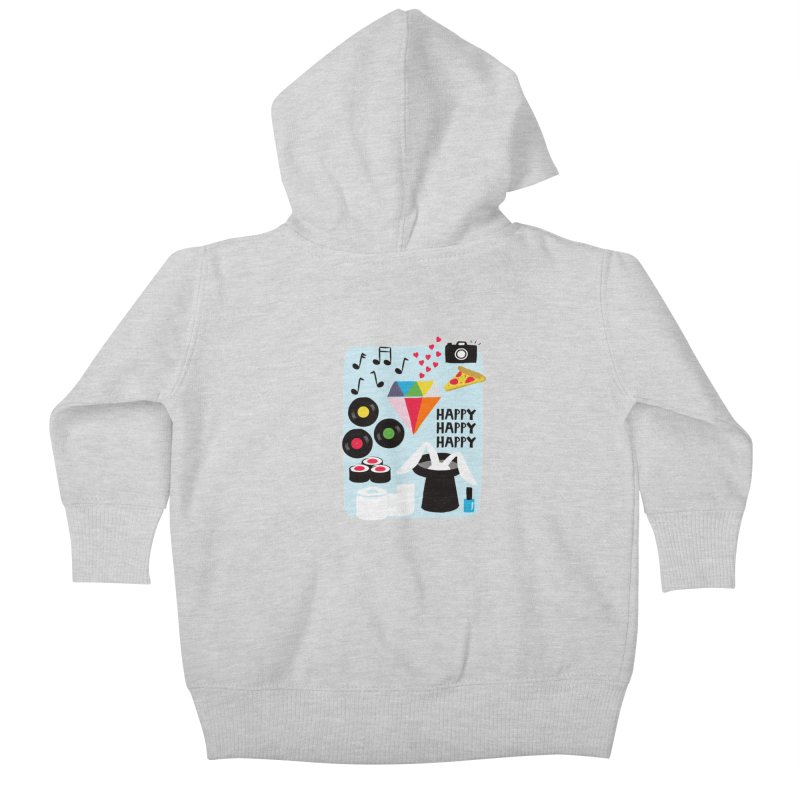 Happy Thoughts Kids Baby Zip-Up Hoody by meredith's Artist Shop