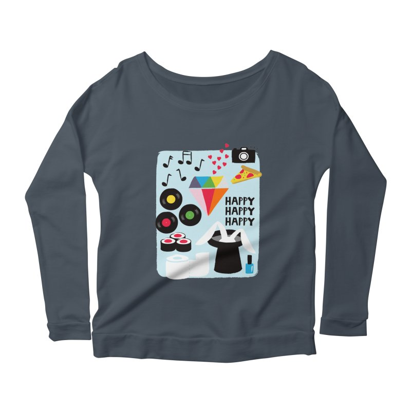 Happy Thoughts Women's Longsleeve Scoopneck  by meredith's Artist Shop