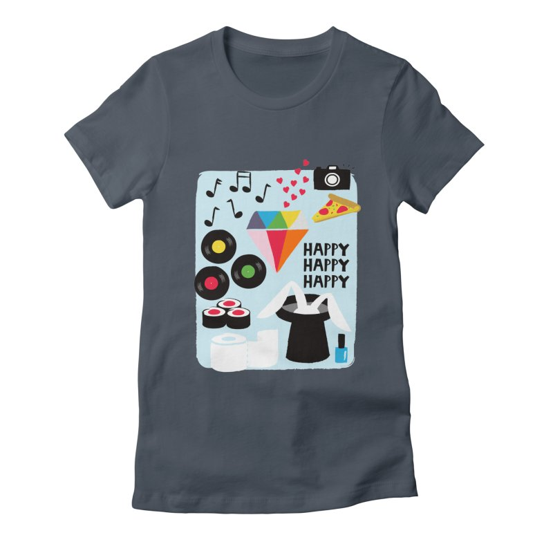 Happy Thoughts Women's Fitted T-Shirt by meredith's Artist Shop