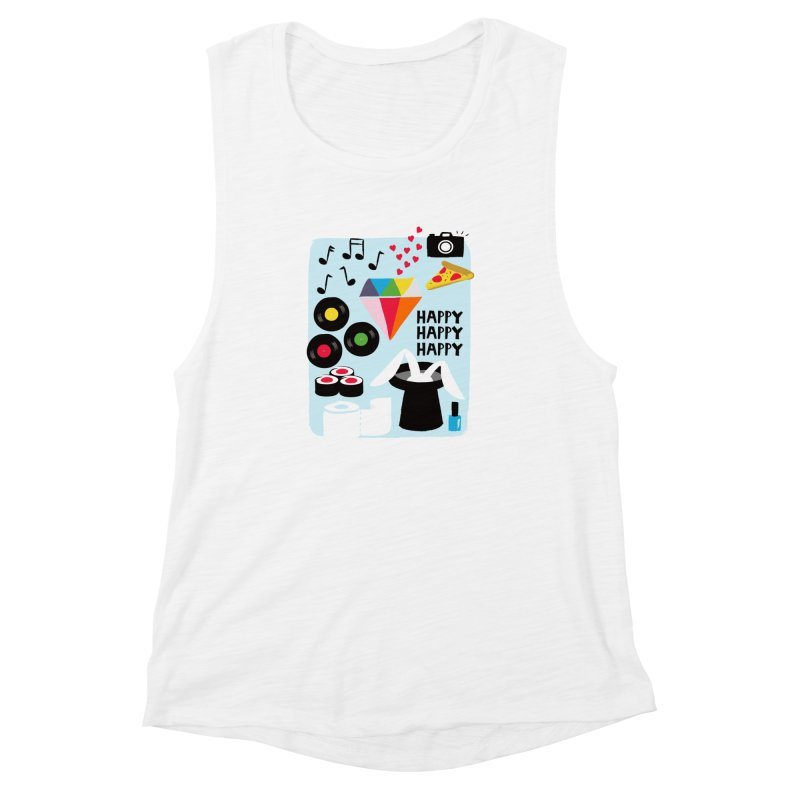 Happy Thoughts Women's Muscle Tank by meredith's Artist Shop
