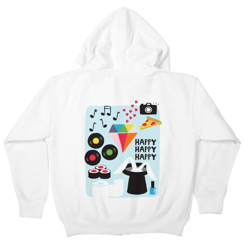 Happy Thoughts Kids Zip-Up Hoody by meredith's Artist Shop