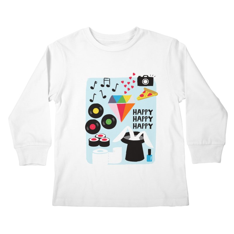 Happy Thoughts Kids Longsleeve T-Shirt by meredith's Artist Shop