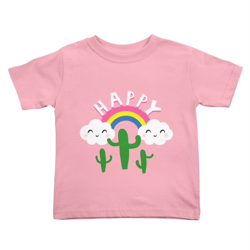 Happy in Kids Toddler T-Shirt Light Pink by meredith's Artist Shop