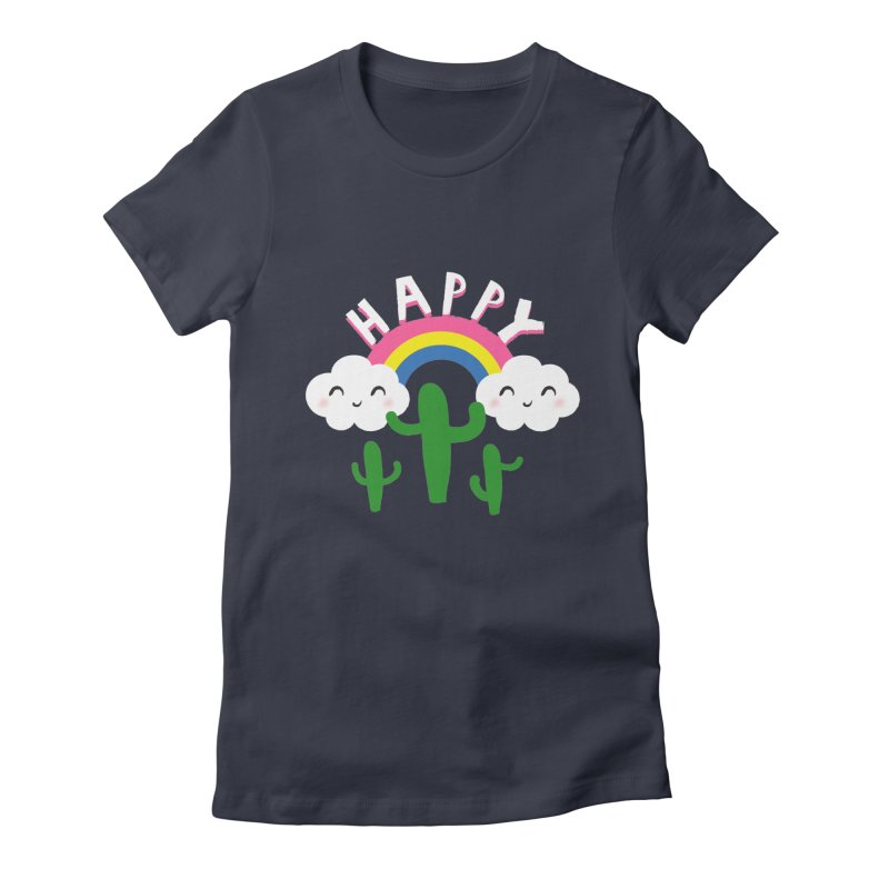 Happy Women's Fitted T-Shirt by meredith's Artist Shop