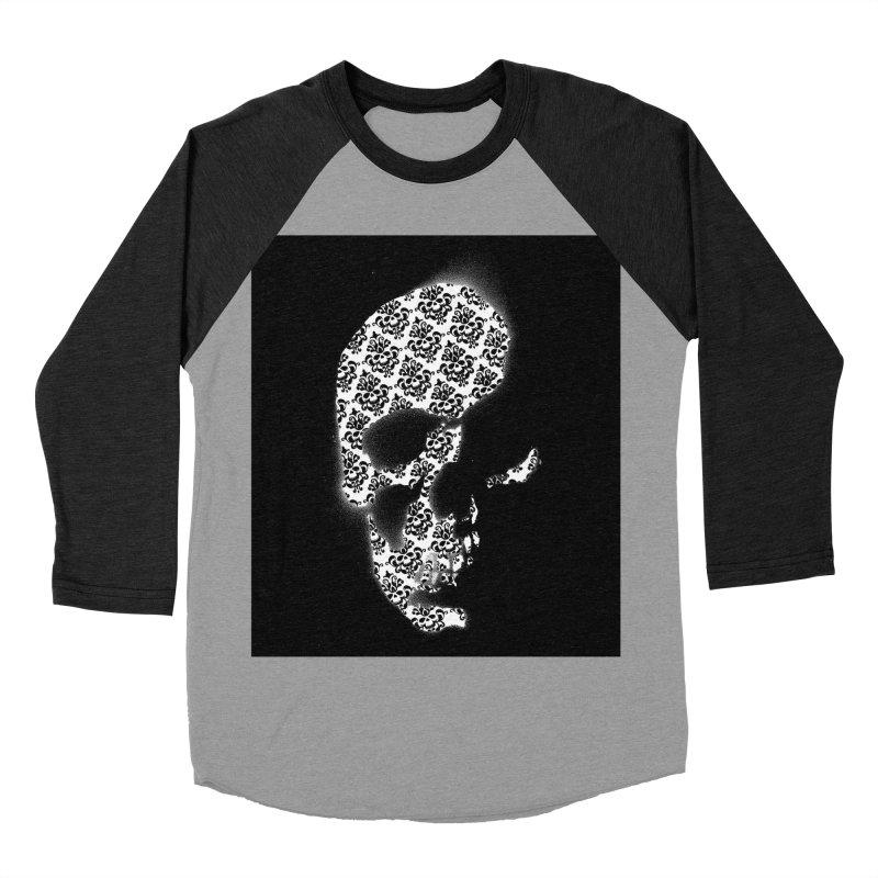 Skull Damask Women's Baseball Triblend T-Shirt by merlynsbeard's Artist Shop