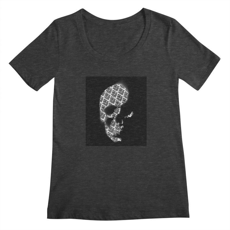Skull Damask Women's Scoopneck by merlynsbeard's Artist Shop