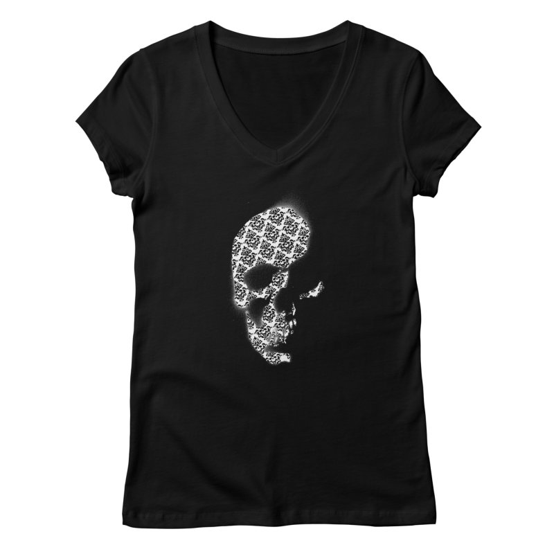 Skull Damask Women's V-Neck by merlynsbeard's Artist Shop
