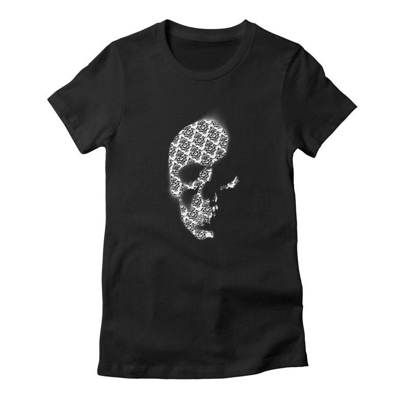 Skull Damask Women's Fitted T-Shirt by merlynsbeard's Artist Shop
