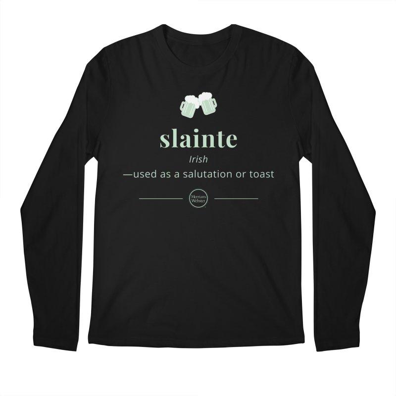 Slainte (light green) in Men's Regular Longsleeve T-Shirt Black by Merriam-Webster Dictionary