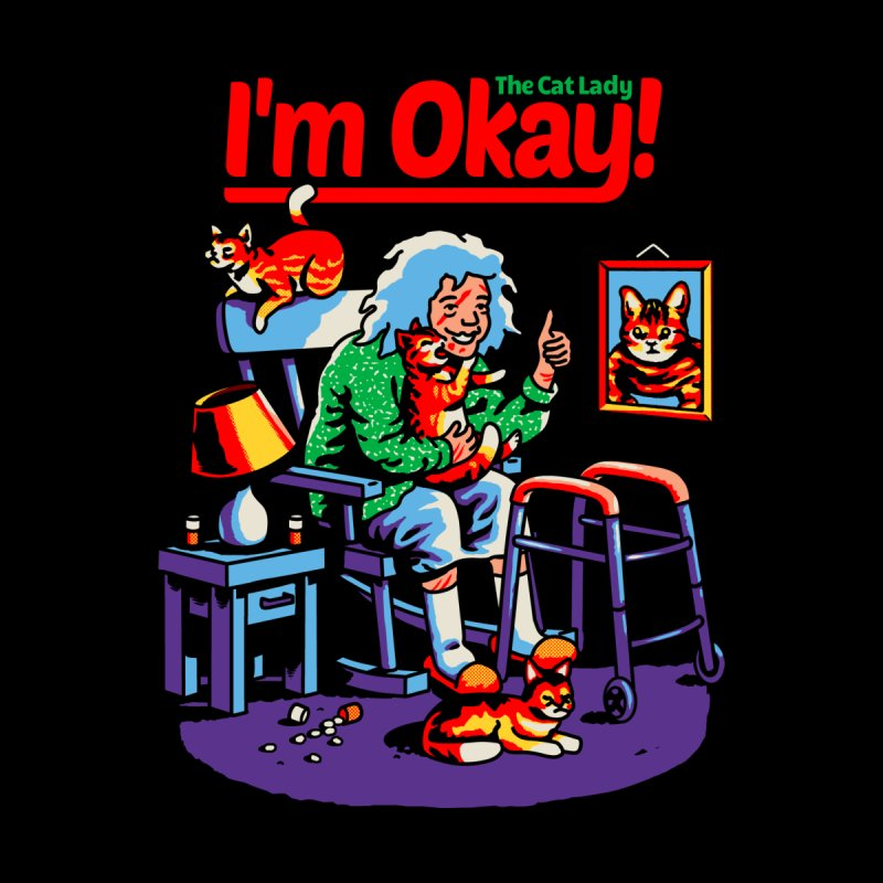 I'm Okay: The Cat Lady Men's V-Neck by Santiago Sarquis's Artist Shop
