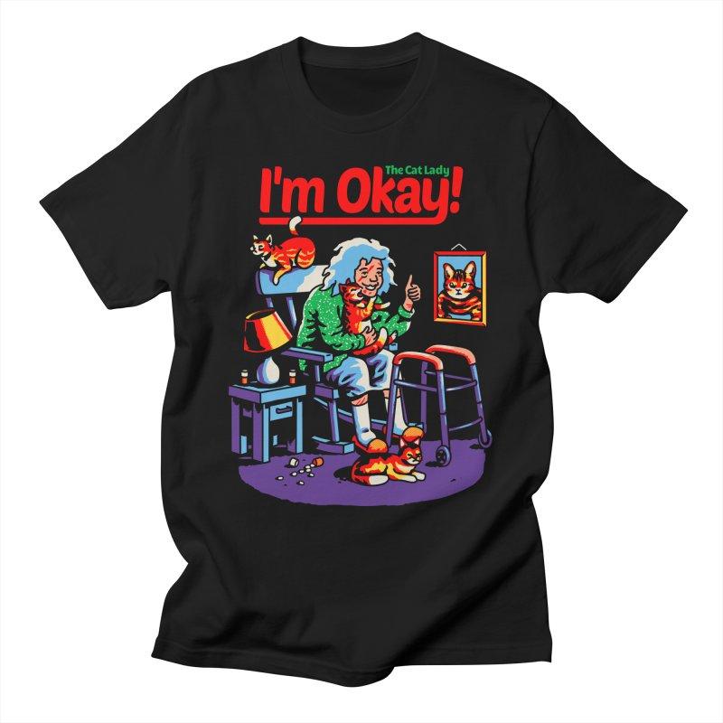 I'm Okay: The Cat Lady Men's T-Shirt by Santiago Sarquis's Artist Shop