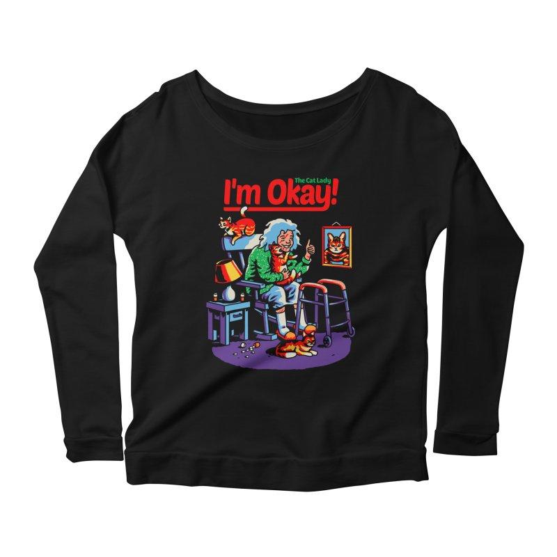 I'm Okay: The Cat Lady Women's Longsleeve T-Shirt by Santiago Sarquis's Artist Shop