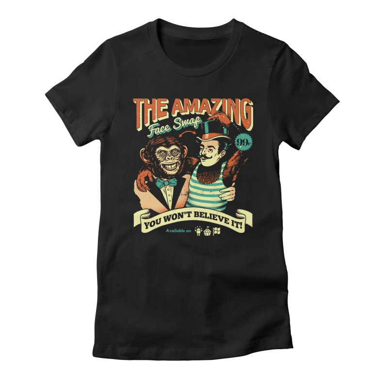 The Amazing Face Swap Women's Fitted T-Shirt by Santiago Sarquis's Artist Shop