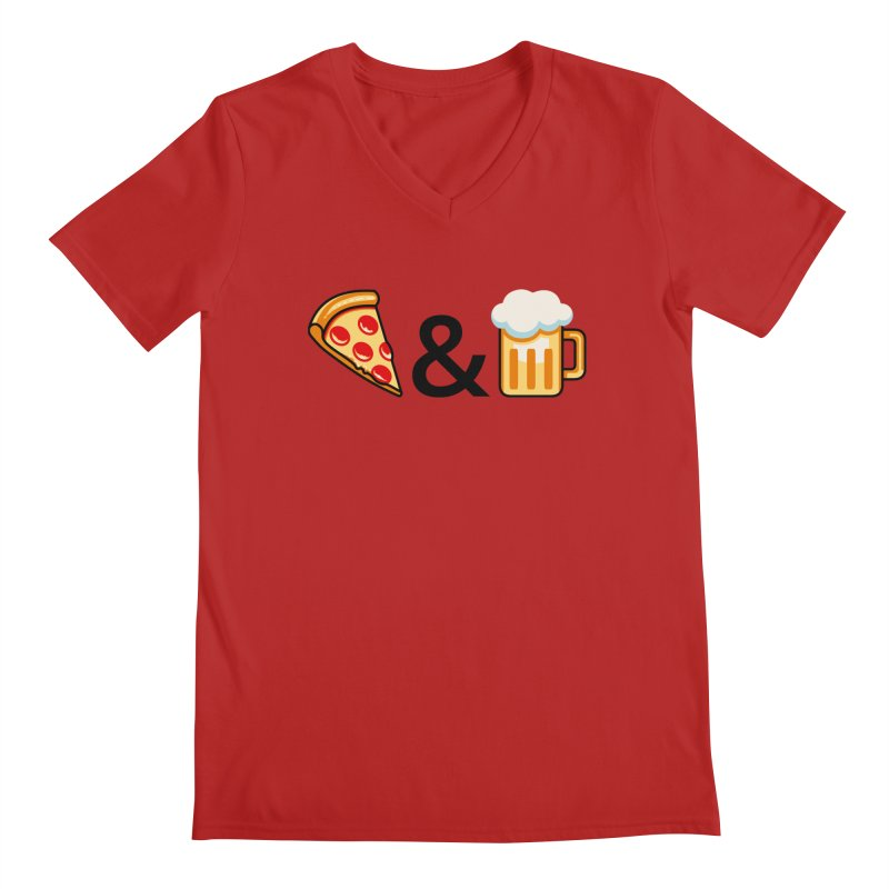 Pizza and Beer Men's V-Neck by metalsan's Artist Shop