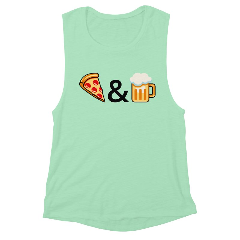Pizza and Beer Women's Muscle Tank by Santiago Sarquis's Artist Shop