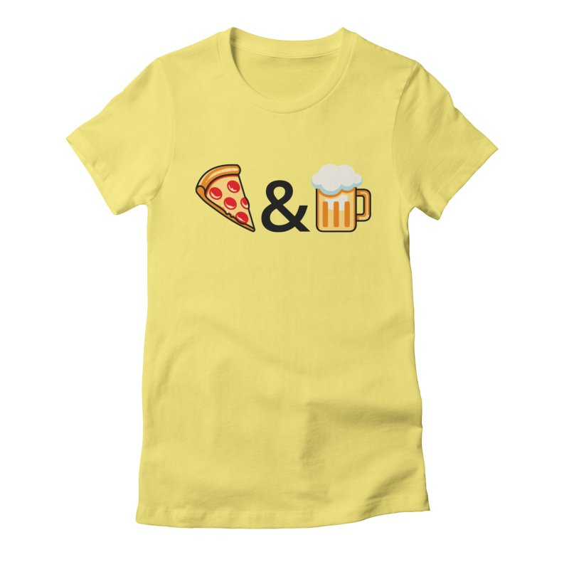 Pizza and Beer Women's Fitted T-Shirt by Santiago Sarquis's Artist Shop
