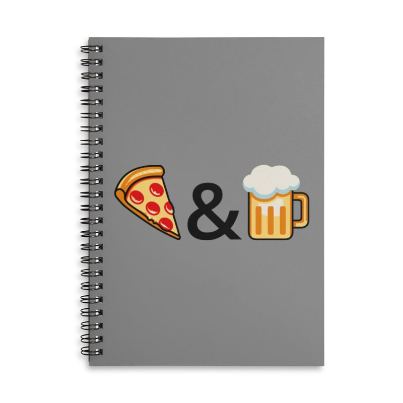Pizza and Beer Accessories Lined Spiral Notebook by Santiago Sarquis's Artist Shop