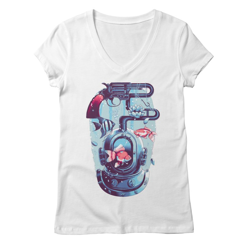 Shoot me Again Women's Regular V-Neck by Santiago Sarquis's Artist Shop