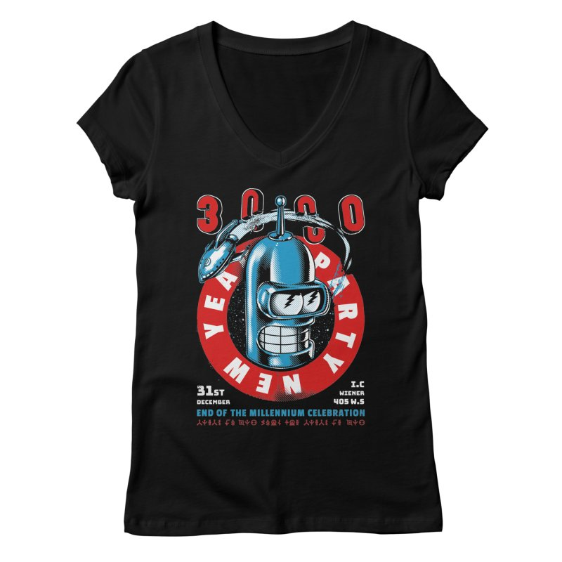New Years Party Women's V-Neck by Santiago Sarquis's Artist Shop