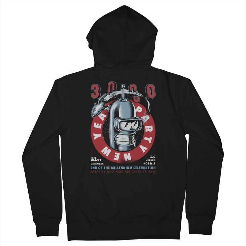 New Years Party Men's French Terry Zip-Up Hoody by Santiago Sarquis's Artist Shop