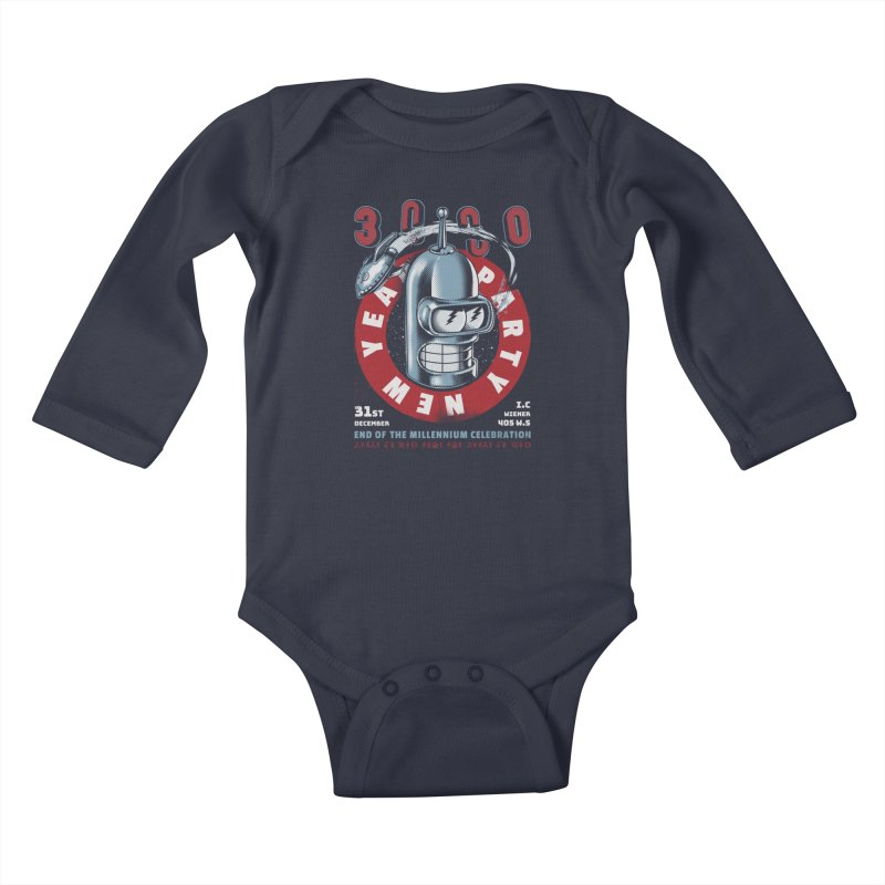 New Years Party Kids Baby Longsleeve Bodysuit by Santiago Sarquis's Artist Shop