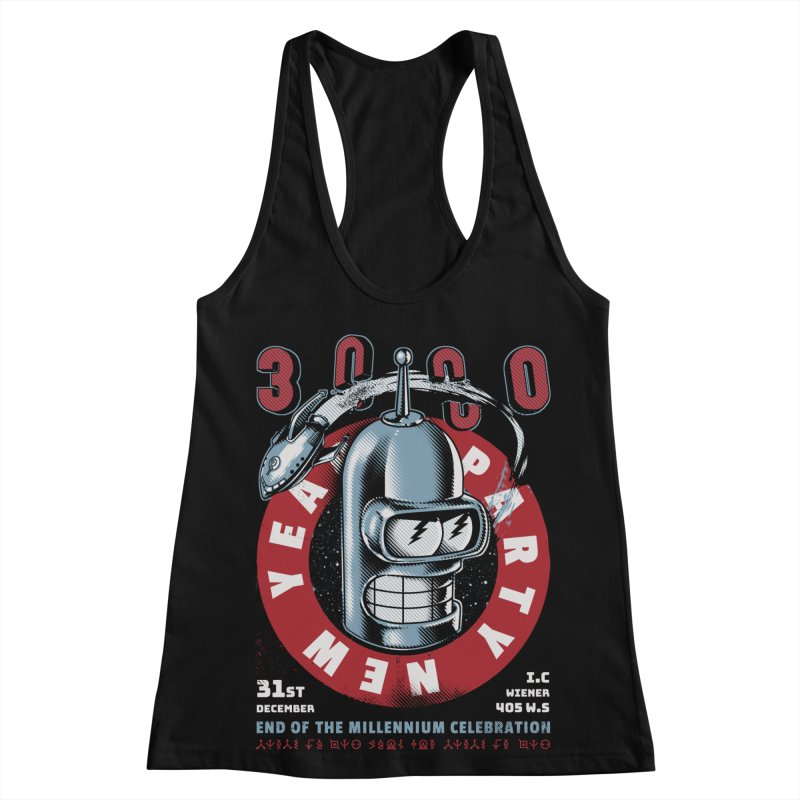 New Years Party Women's Racerback Tank by Santiago Sarquis's Artist Shop