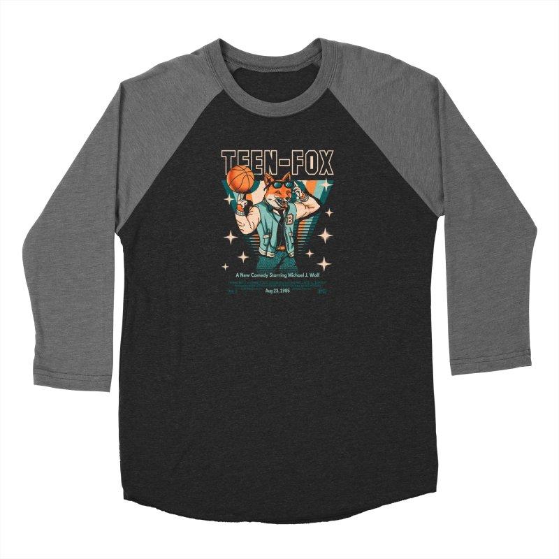 Teen Fox Men's Baseball Triblend Longsleeve T-Shirt by Santiago Sarquis's Artist Shop