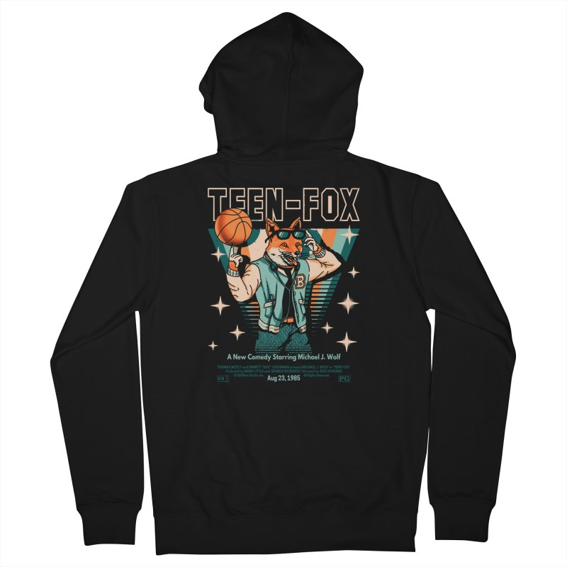 Teen Fox Men's French Terry Zip-Up Hoody by Santiago Sarquis's Artist Shop