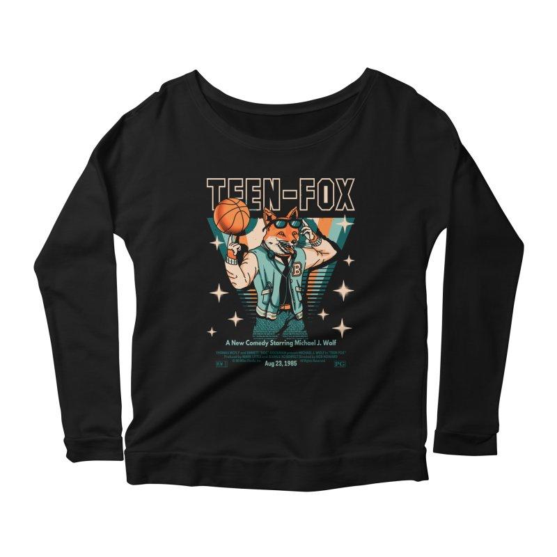 Teen Fox Women's Scoop Neck Longsleeve T-Shirt by Santiago Sarquis's Artist Shop