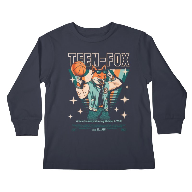 Teen Fox Kids Longsleeve T-Shirt by Santiago Sarquis's Artist Shop