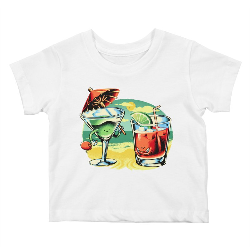 A Day at the Beach Kids Baby T-Shirt by Santiago Sarquis's Artist Shop