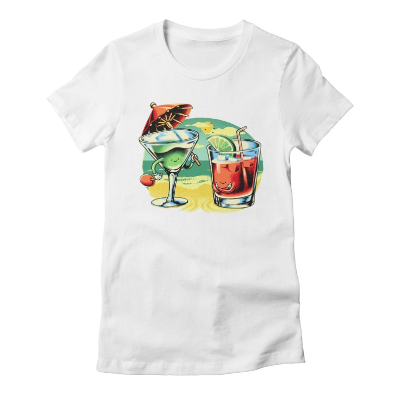 A Day at the Beach Women's Fitted T-Shirt by Santiago Sarquis's Artist Shop