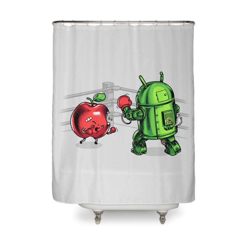 Fruits Vs. Robots Home Shower Curtain by metalsan's Artist Shop