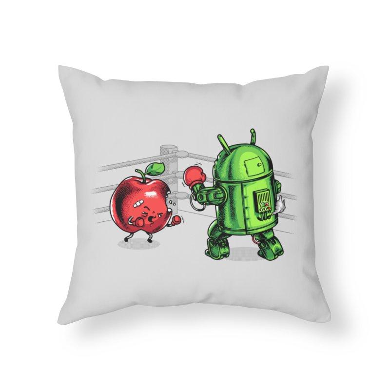Fruits Vs. Robots Home Throw Pillow by Santiago Sarquis's Artist Shop