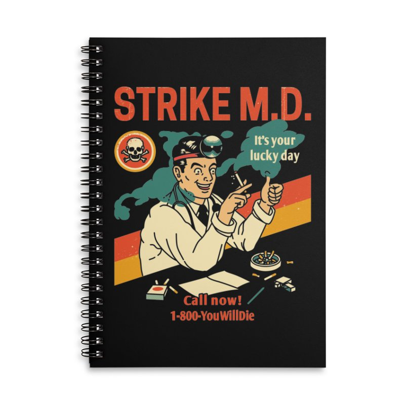 Strike M.D Accessories Lined Spiral Notebook by Santiago Sarquis's Artist Shop