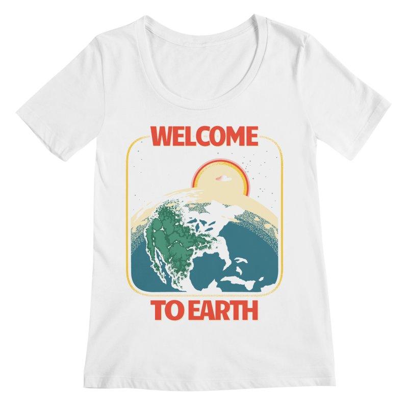 Welcome to Earth Women's Regular Scoop Neck by Santiago Sarquis's Artist Shop
