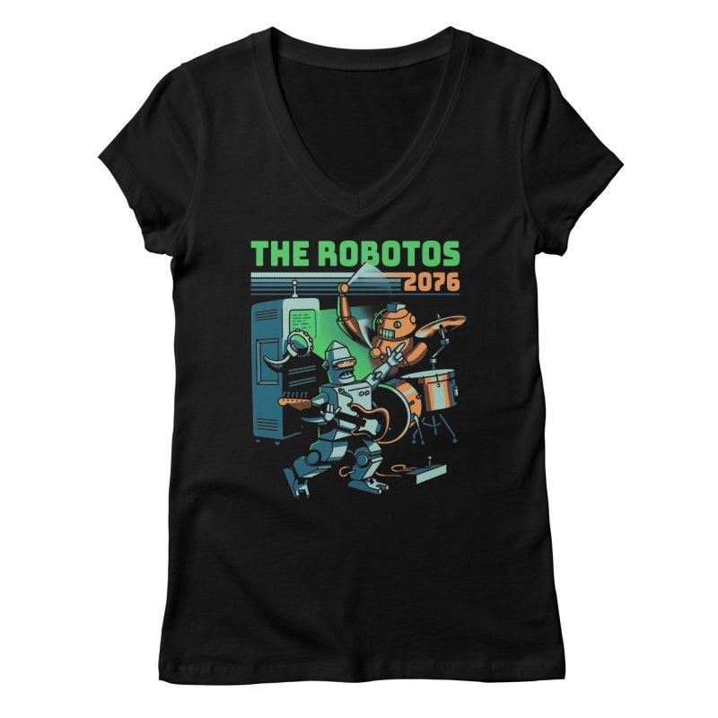The Robotos Women's V-Neck by Santiago Sarquis's Artist Shop