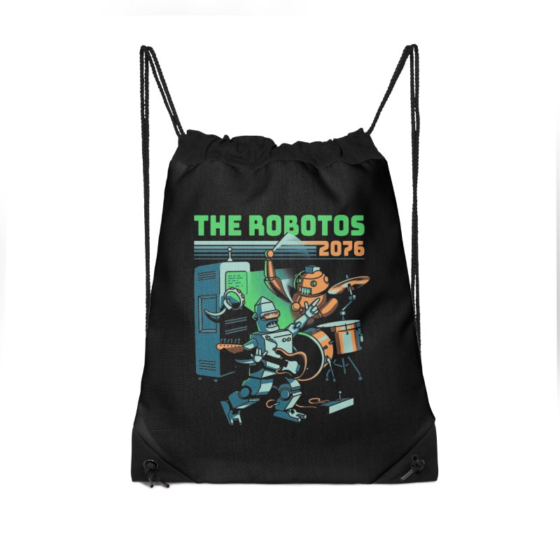 The Robotos Accessories Drawstring Bag Bag by Santiago Sarquis's Artist Shop