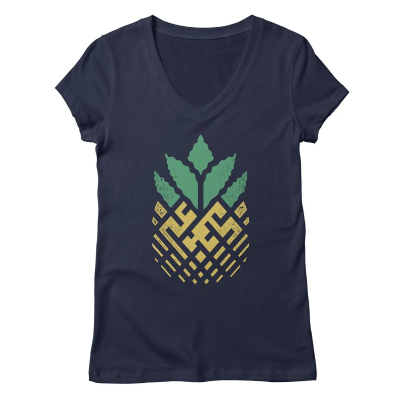 Pineapple Maze Women's Regular V-Neck by Santiago Sarquis's Artist Shop